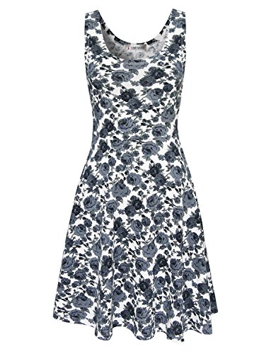 Tom's Ware Womens Casual Fit and Flare Floral Sleeveless Dress TWCWD054