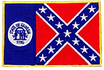 Georgia State Flag Embroidered Patch Iron-On GA Confederate Emblem