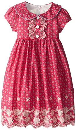 Laura Ashley London Little Girls' Eyelet Embroidered Dress, Red, 2T