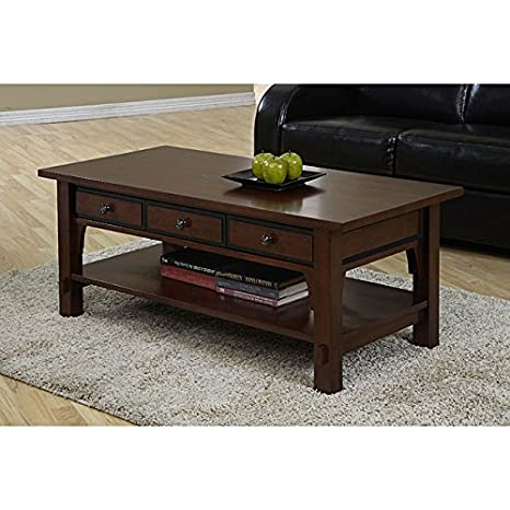 Traditional 3 Drawer Coffee Table Is Made of Rubberwood. Its Easy to Organize Perpetuals, Books, Magazines and More with the Open Shelf on the Bottom and the 3 Pull in Drawers.