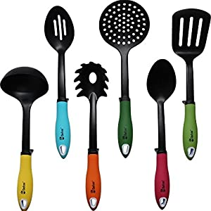 Chefcoo™ Kitchen Utensils Non-stick Cooking Tools Set - Includes 7 Pieces - Soup Ladle, Skimmer, Slotted Spoon, Slotted Turner, Spoon, Pasta Fork & Stand