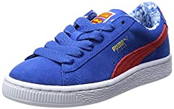 Puma Boys Suede Superman Jr Strong Blue-Red-Buttercup Leather Boat Shoes - 3C UK