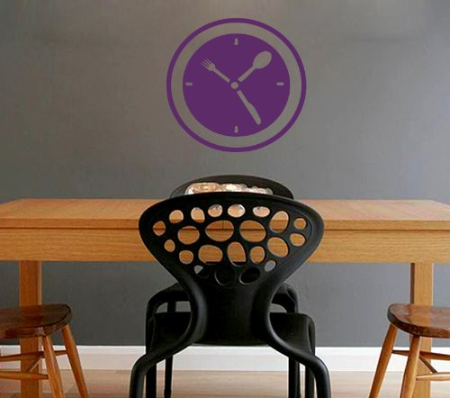 Housewares Wall Vinyl Decal Time To Eat Clock Spoon Fork Knife Kitchen Cafe Interior Home Art Decor Kids Nursery Removable Stylish Sticker Mural Unique Design For Any Room