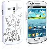 Yousave Accessories SA-EA01-Z961 Etui pour Galaxy S3 Mini Floraux Papillon Blanc/Argent