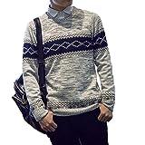Veroman メンズ カジュアルニット セーター (M, グレー)