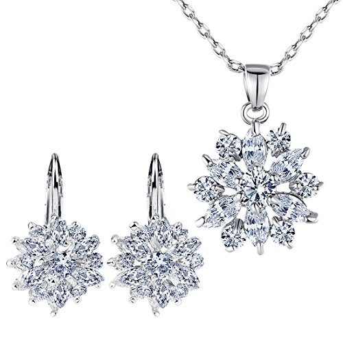 BAMOER Black Friday Christmas Earring Stud Necklace Set Big Promotion!! Women Favorite Fashion 18K White Gold Plated Jewelry Set Gift Best Gift for Girlfriend (Silver)