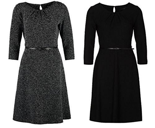 COMMA A-Linie Kleid Abendkleid Waffel- oder Salz-Pfeffer-Look schwarz Gürtel, Farbe:Schwarz;Größe:42