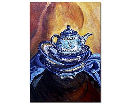 Boleslawiec Polish Pottery Teapot Giclee Art Print - Yellow Blue Rustic Kitchen Wall Decor, size mat option