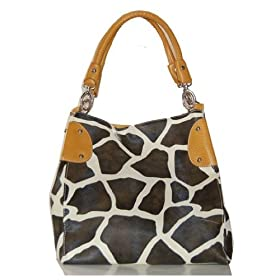 Mustard Yellow Vicky Giraffe Print Faux Leather Satchel Bag Hand Shoulder Tote Bag Animal Purse