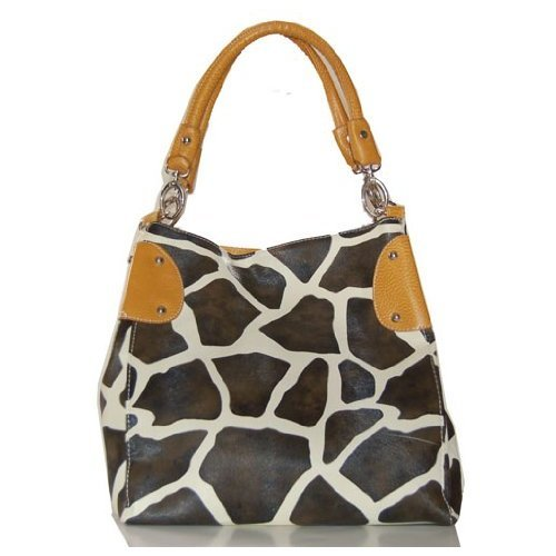 Yellow Vicky Giraffe Print Faux Leather Satchel Bag Hand Shoulder Tote Bag Animal Purse