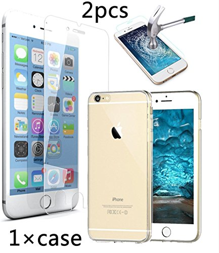 Bekhic Iphone 6 6s Case Cover + 2pcs Tempered Glass Screen Protectorfor Iphone 6 6s 4.7 Inch [Best Deal]