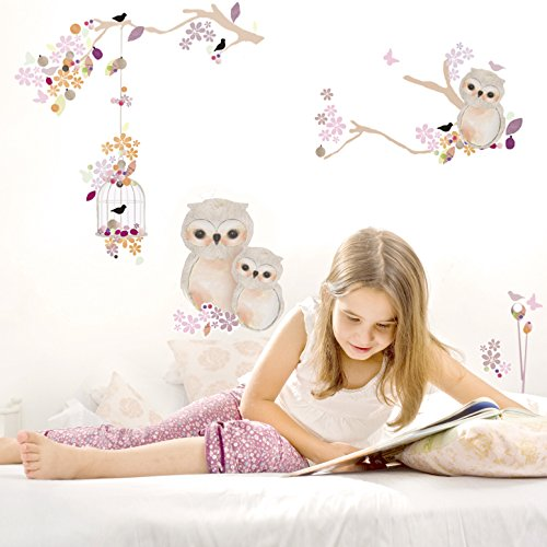 "Oopsy Daisy Vintage Owls Purple Peel and Place, Neutral/Pink/Purple, 54"" x 30"""