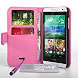 Yousave Accessories Coque HTC Desire 610 Etui Rose Chaud PU Cuir Portefeuille Housse Avec Mini Stylet