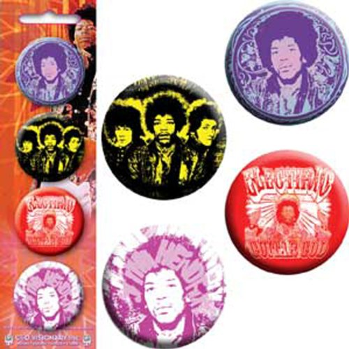 """Licenses Products Jimi Hendrix Scroll-Aye Back Yellow-Electric Guitar God-Hendrix Head 1.25"""" Button Set, 4-Piece"""