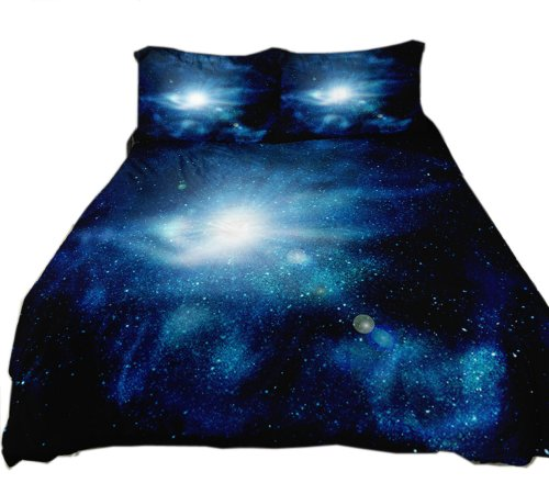 Anlye Outer Space Bedding Set 2 Sides Printing Outer Space Quilt Cover Outer Space Bed Sheets With 2 Matching Outer Space Pillowcase front-595215