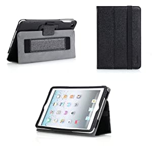Poetic BaseBook Leather Case for Apple iPad Mini / iPad Mini 2 with Retina Display Black (Automatically Wakes and Puts the iPad Mini to Sleep)(Intergrated HandStrap)(3 Year Manufacturer Warranty From Poetic)