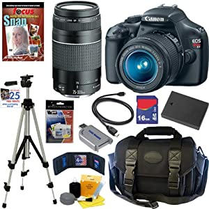 Canon EOS Rebel T3 12.2 MP CMOS Digital SLR Camera with EF-S 18-55mm f/3.5-5.6 IS II Zoom Lens &#038; EF 75-300mm f/4-5.6 III Telephoto Zoom Lens + 10pc Bundle 16GB Deluxe Accessory Kit