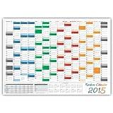 XL Rainbow Wandkalender / Wandplaner 2015 - DIN A1 Format (841 x 594 mm) mit 14 Monaten, kompletter Jahresvorschau 2016 und Ferientermine/Feiertage aller Bundesländer