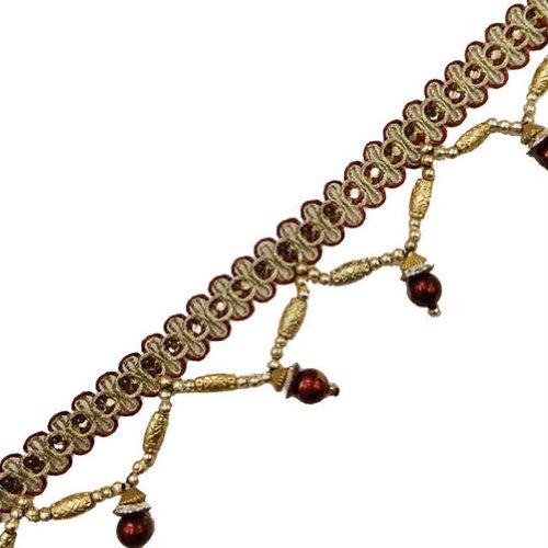 Maroon Beaded Fringe Ribbon Trim Decorative Border Lace Sewing Craft India 4 Yd