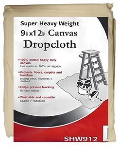 Paint Essentials 9-Feet x 12-Feet Canvas Drop Cloth SHW912 Super Heavy Weight