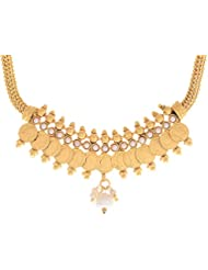 Zeneme Small And Long White Pearl Dangler Temple Coin Necklace Set With Earring For Women
