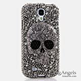 3D Luxury Swarovski Crystal Sparkle Diamond Bling Grey Black Skull Design Case Cover for Samsung Galaxy S4 S 4 IV i9500 fits Verizon, AT&T, T-mobile, Sprint and other Carriers (Handcrafted by BlingAngels®)