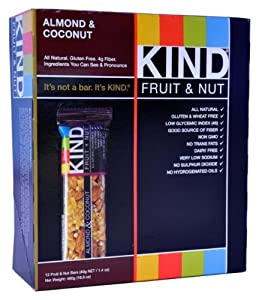 KIND Fruit & Nut, Almond & Coconut, All Natural, 1.4-Ounce Gluten Free Bars (Pack of 12)
