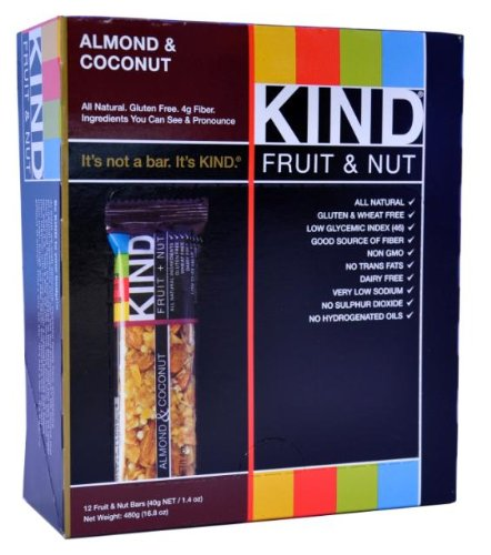 KIND Fruit & Nut, Almond & Coconut, All Natural, 1.4-Ounce Gluten Free Bars, (Pack of 12)