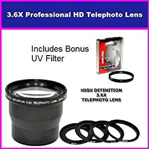 3.6X HD Professional Telephoto lens For Canon PowerShot A640 A630 A620 A610 Includes Bonus 72MM Protective UV Filter Tube Adapter Included