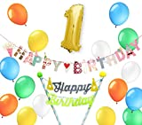 一歳 ケーキトッパー バースデー パーティー 誕生日 飾り 風船 ガーランド バルーン バナー (トッパー1歳)