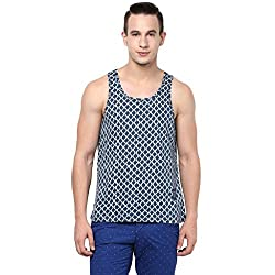 Atorse Mens Blue with White Wavy Stripe Printed Casual Sandos
