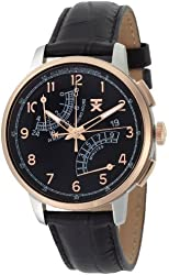 TX Men's T3C196 Classic Fly-Back Chronograph Two-Tone Black Leather Strap Watch