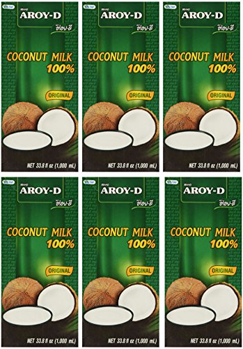 Aroy-D 100% Coconut Milk - 33.8 oz packages (6-pack) (Arroy D compare prices)