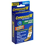 Compound W Wart Remover One Step Pads - Maximum Strength - Waterproof, Medicated, Self-Adhesive Pads Conceal & Protect Common & Plantar Warts While Treating them with Salicylic Acid – 2 Packs of 14 (Tamaño: 14 Medicated Pads (Pack of 2))