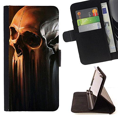 RenCase / PELLE FLIP CUSTODIA CASE PROTEZIONE COVER per Samsung GALAXY S7 PLUS - Skull Melting Art Bone Testa Decomposing Morte