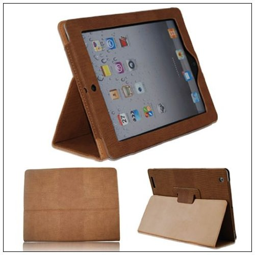 Lizard Magnetic Smart PU Leather Case Cover F iPad 2 Brown