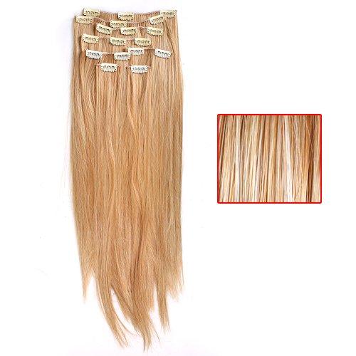 Extensions de Cheveux à Clips Longue Raides 22 Pouces de Haute Qualité (Blond)