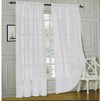 Elegant Comfort 2 Piece Sheer Panel With 2inch Rod Pocket Window Curtains 60