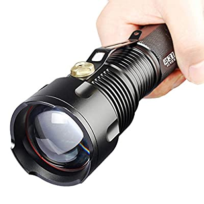 Comunite 1200 Lumen Zoomable Cree XM-L T6 Super Bright Led Flashlight Torch Lamp Adjustable with White Tube,Powered By 1pcs 26650 Or 3pcs AA Battery Flashlight(Not Included)