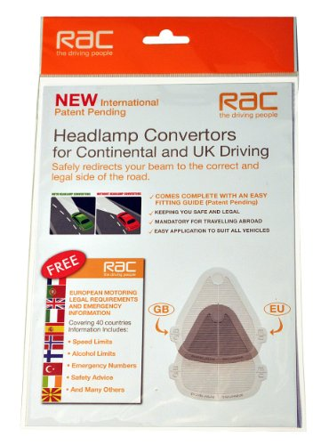 RAC Headlamp / Headlight Beam Deflectors, Beambenders & Convertors & European Motoring leaflet for Continental and UK Driving - Suitable for all vehicles
