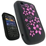 IGadgitz Black & Pink Flower Design Silicone Skin Case Cover for BlackBerry Curve Gemini 8520 + Screen Protector