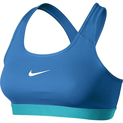 Nike Womens Pro Classic Sports Bra (Medium, Light Photo Blue/White) (Nike Pro Classic Sports Bra compare prices)
