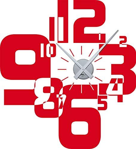 Wandtattoo Uhr Wanduhr mit Uhrwerk für Wohnzimmer moderner Zahlenmix Zahlen (Uhrwerk silber//032 hellrot)