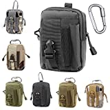 Tactical Molle EDC Pouch Compact 1000D Multipurpose Utility Gadget Belt Waist Bag with Cell Phone Holster Holder (Color: 2black)