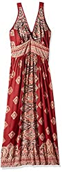 Angie Women's Plus-Size Red Printed Vneck Adjustable Maxi Dress, Cherry, 1X