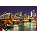 Brooklyn Bridge wallpaper - New York City Skyline with Brooklyn Bridge in light by night - XXL wallpaper wall decoration 82.7 Inch x 55 Inch