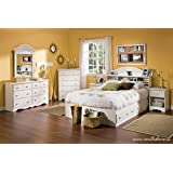 South Shore Summer Breeze Kids Bookcase Bed 4-Piece Bedroom Set, Full, White Wash