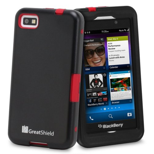 GreatShield TUFF Series Dual Layer Hybrid Kickstand Case with Swivel Belt-Clip and Holster for Blackberry Z10 (Black & Red)