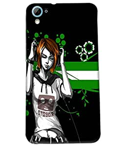 Fuson Music Girl Back Case Cover for HTC DESIRE 826 - D3716