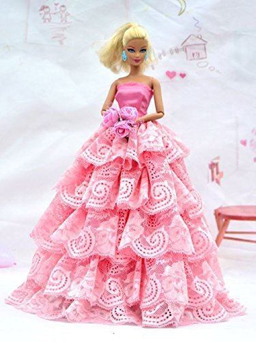 Beautiful Pink Dress with Lots of Ruffles includes hand stick Rose Made to Fit the Barbie Doll